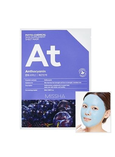 Missha Phytochemical Skin Supplement Sheet Mask (Anthocyanin/Lifting) Renksiz